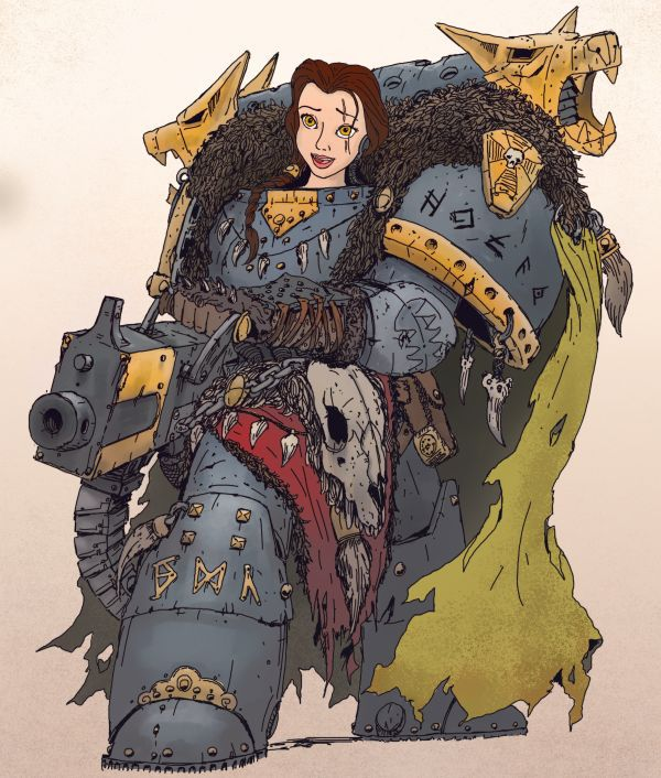Disney Princesses as Warhammer 40k Space Marines