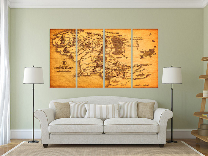 Lord of the Rings Maps Canvas Wall Art