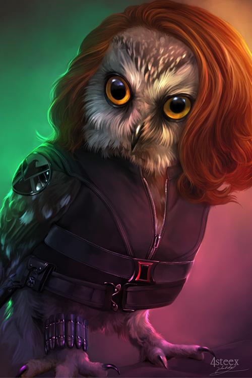 Avengers as Owls Fan Art Geek Wallpaper