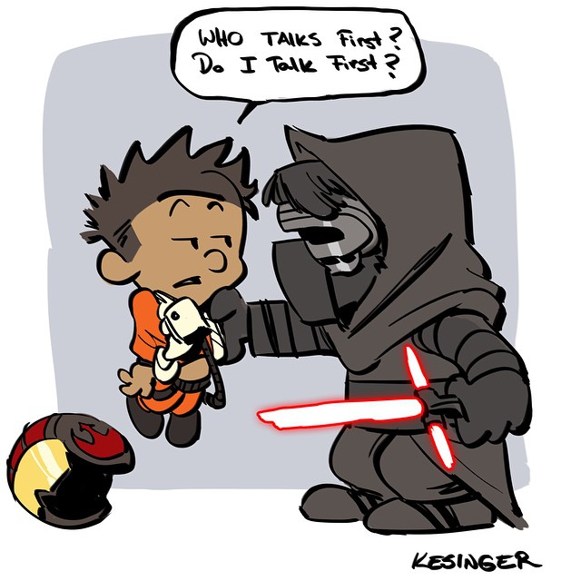 Force Character Design From Life Drawing Download : Star wars the force awakens calvin and hobbes mashup