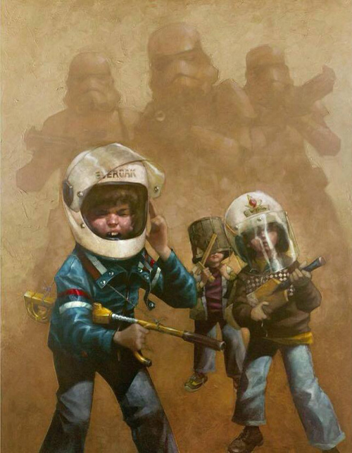 Children Playing Star Wars Art