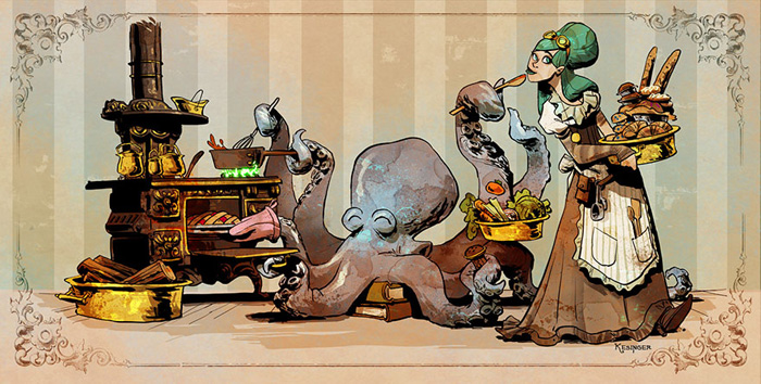 Pet Octopus Steampunk Art