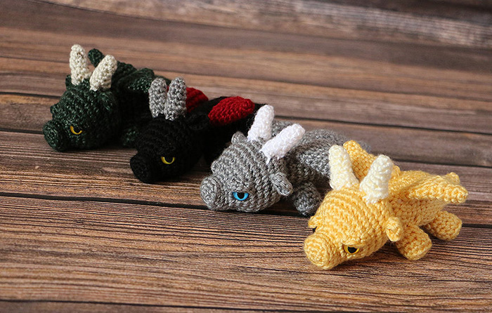 Crocheted Baby Dragons