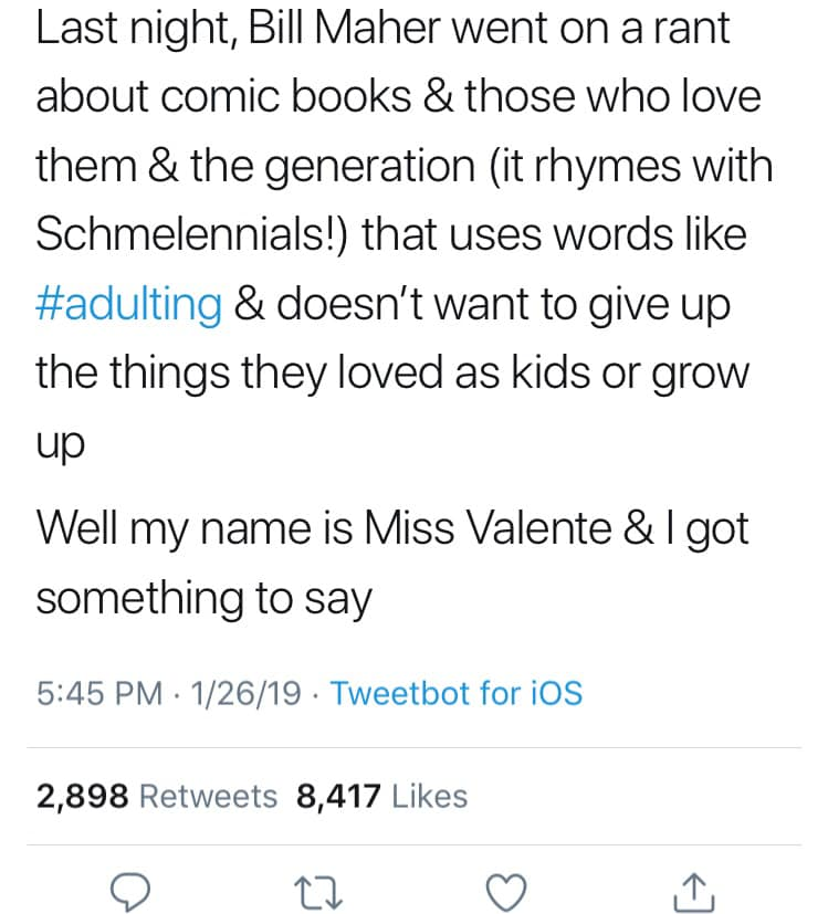 Response to Bill Mahers Rant About Comic Book Fans