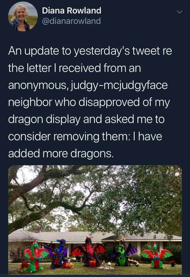 Neighbors Complain That Christmas Dragons Are Inappropriate