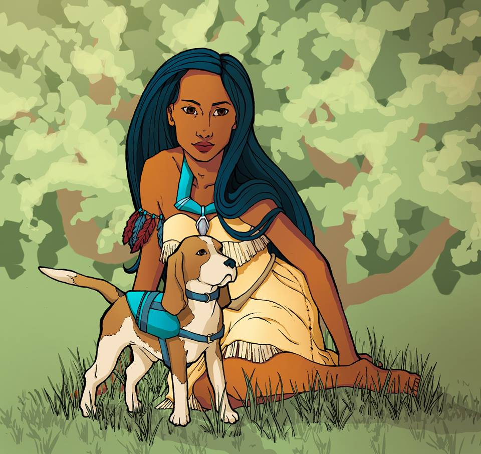 Disney Princesses with Service Dogs Fan Art