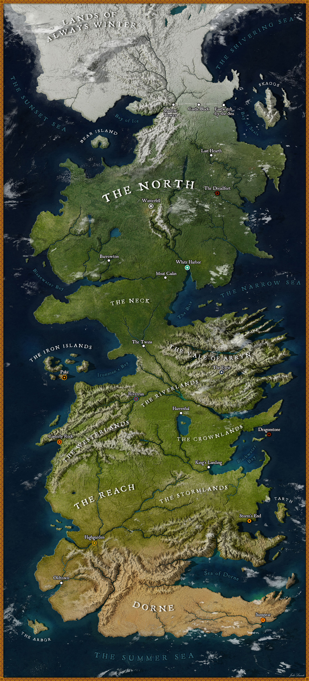 High-Res Map of Westeros from Game of Thrones