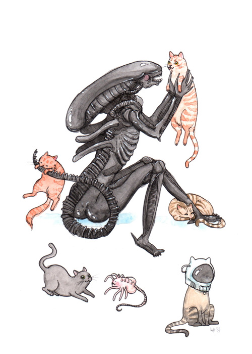 Horror Icons with Cats Fan Art