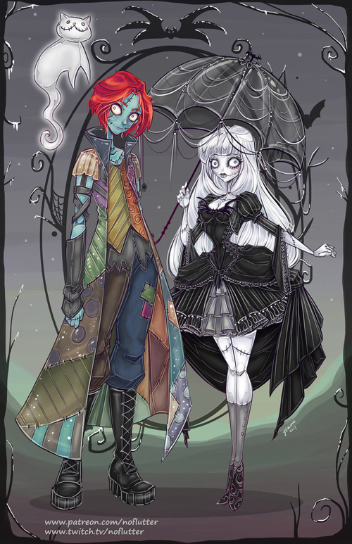 Genderswap Jack & Sally from The Nightmare Before Christmas Fan Art