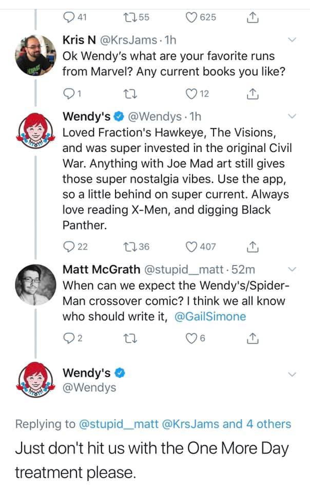 Wendys on Marvel vs DC