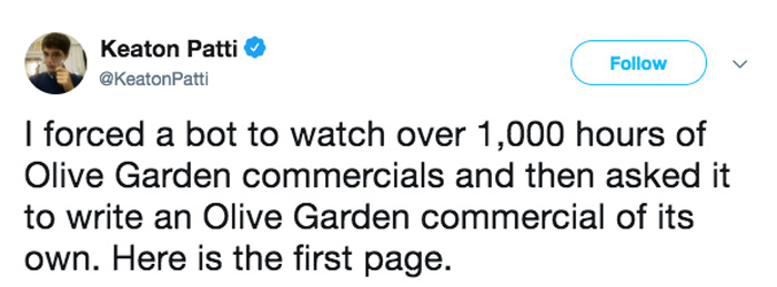 Bot Writes an Olive Garden Commercial