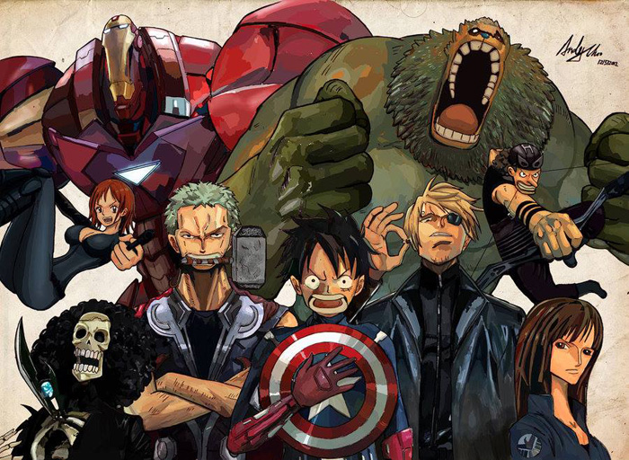 Avengers / One Piece Mashup Fan Art