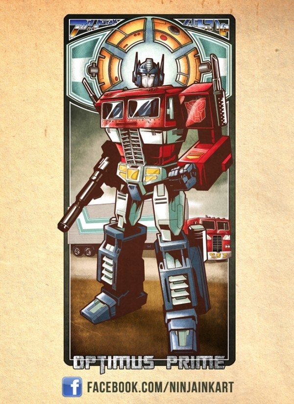 Optimus Prime Stained Glass Window