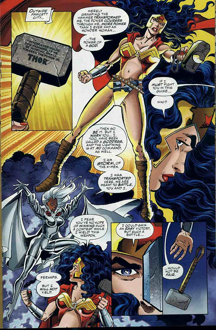 Wonder Woman Lifts Thors Hammer