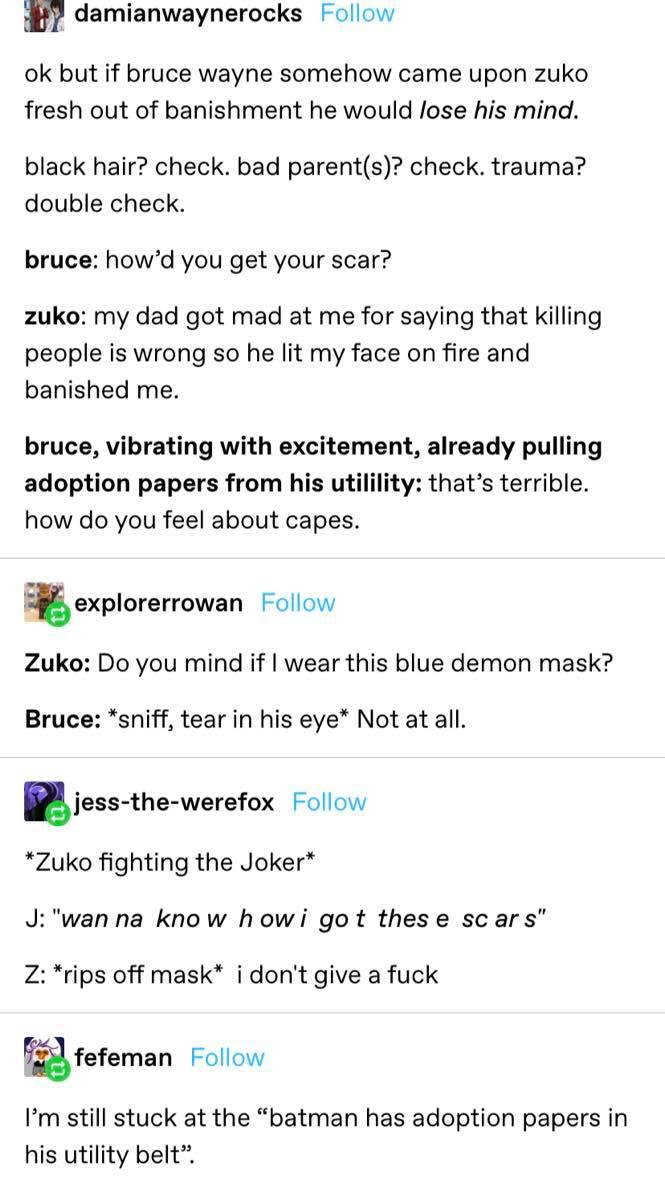 Batman Adopting Zuko from Avatar: The Last Airbender