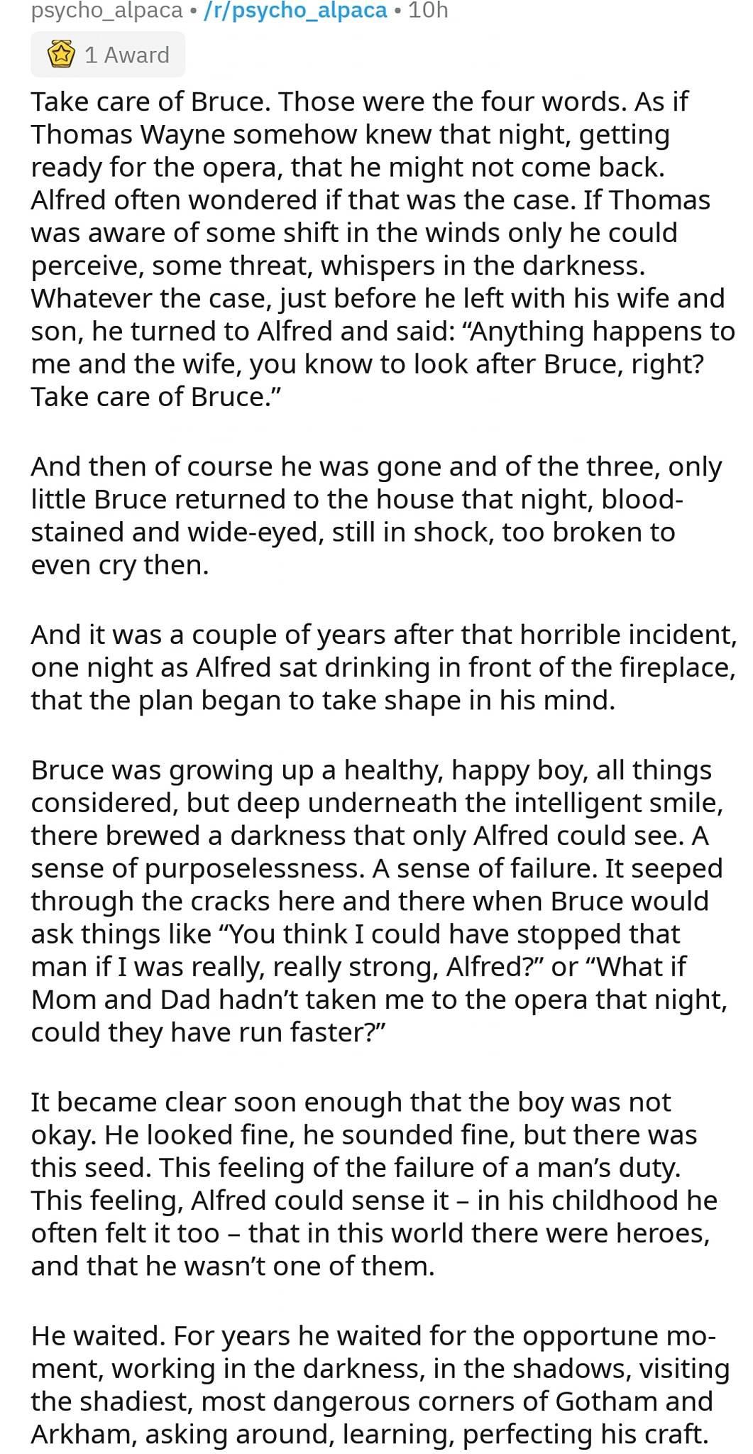 Alfred & Bruce Batman Fan Fic