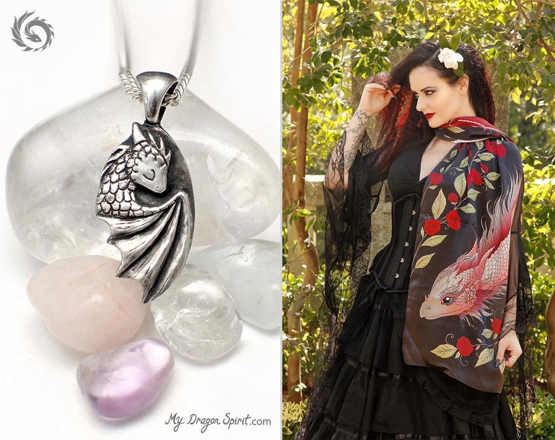 Dragon Scarf and Necklace Sets