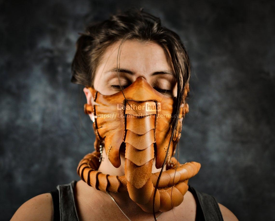 Facehugger Alien Leather Mask