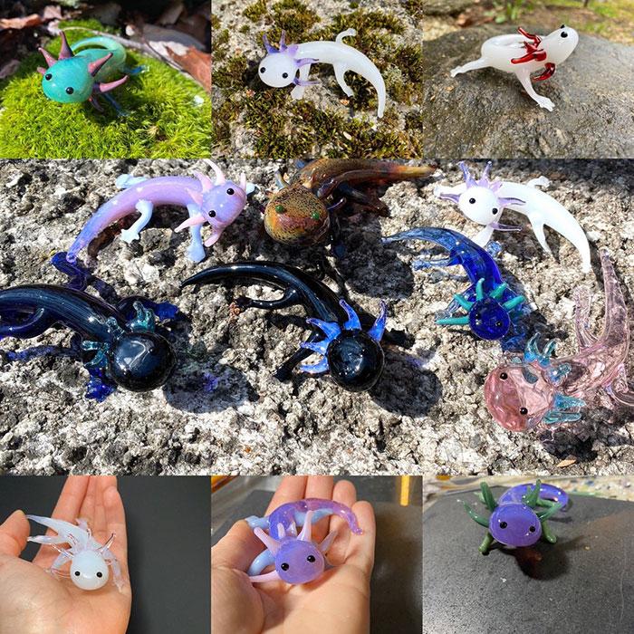 Glass Axolotl Sculptures