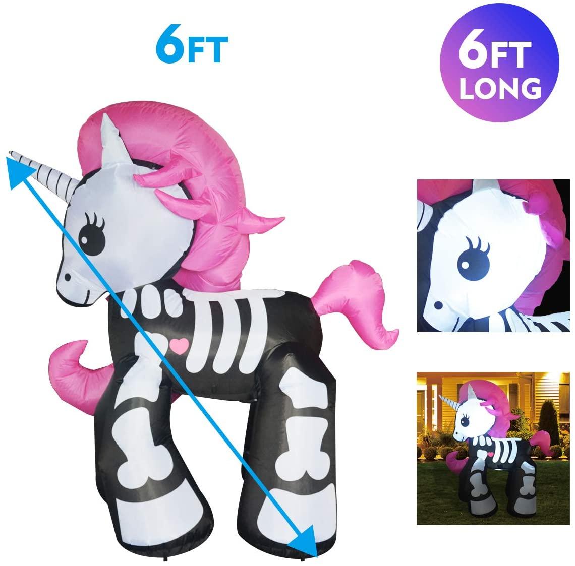 Inflatable Skeleton Unicorn Halloween Lawn Decoration