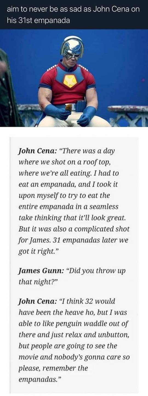 John Cena Ate 31 Empanadas for The Suicide Squad