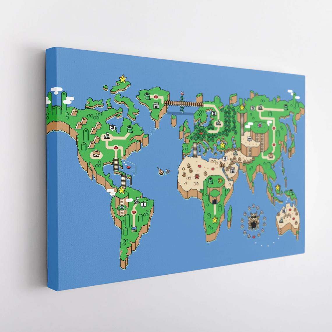 Super Mario World Map Canvas Wall Art