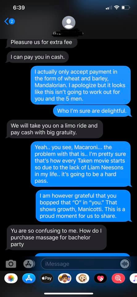 Hilarious Texts Between a Massage Therapist and a Creepy Dude