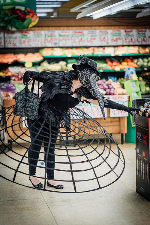 Fantasy Apocalypse plague doctor Cosplay at the Grocery Store