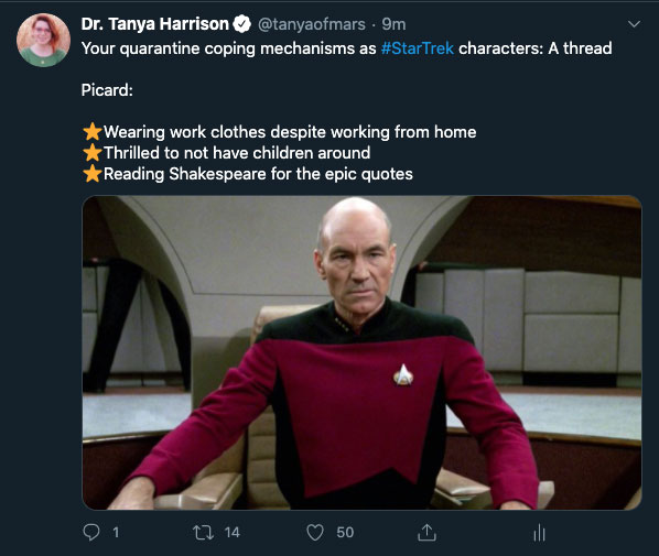 Quarantine Coping Mechanisms as Star Trek Characters
