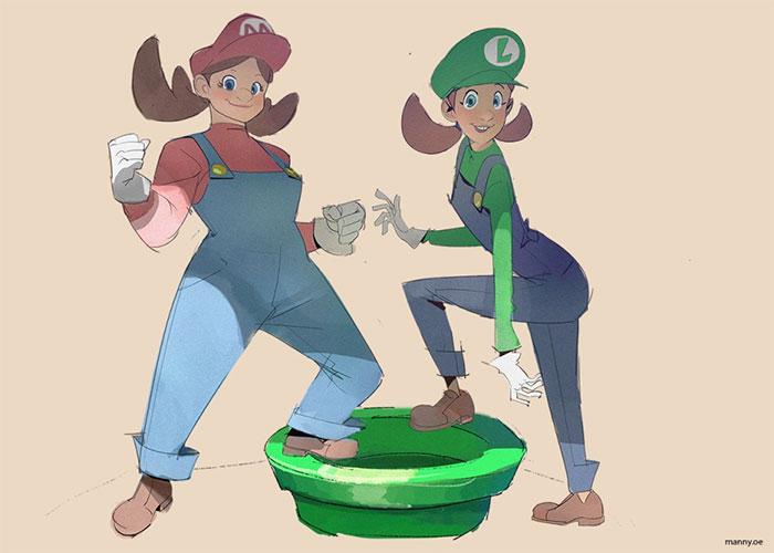 Genderbent Super Mario Fan Art