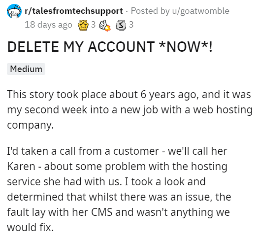 Tech Support Calls Karens Bluff Deletes Her Website