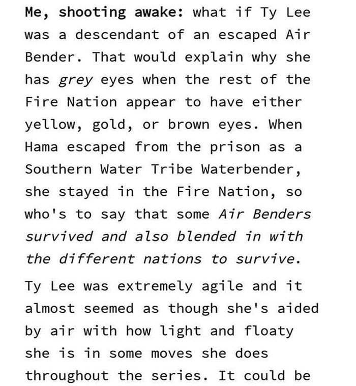Ty Lee is Descendant from Airbenders