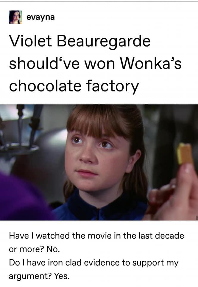 Violet Beauregarde Shouldve Won Wonkas Chocolate Factory