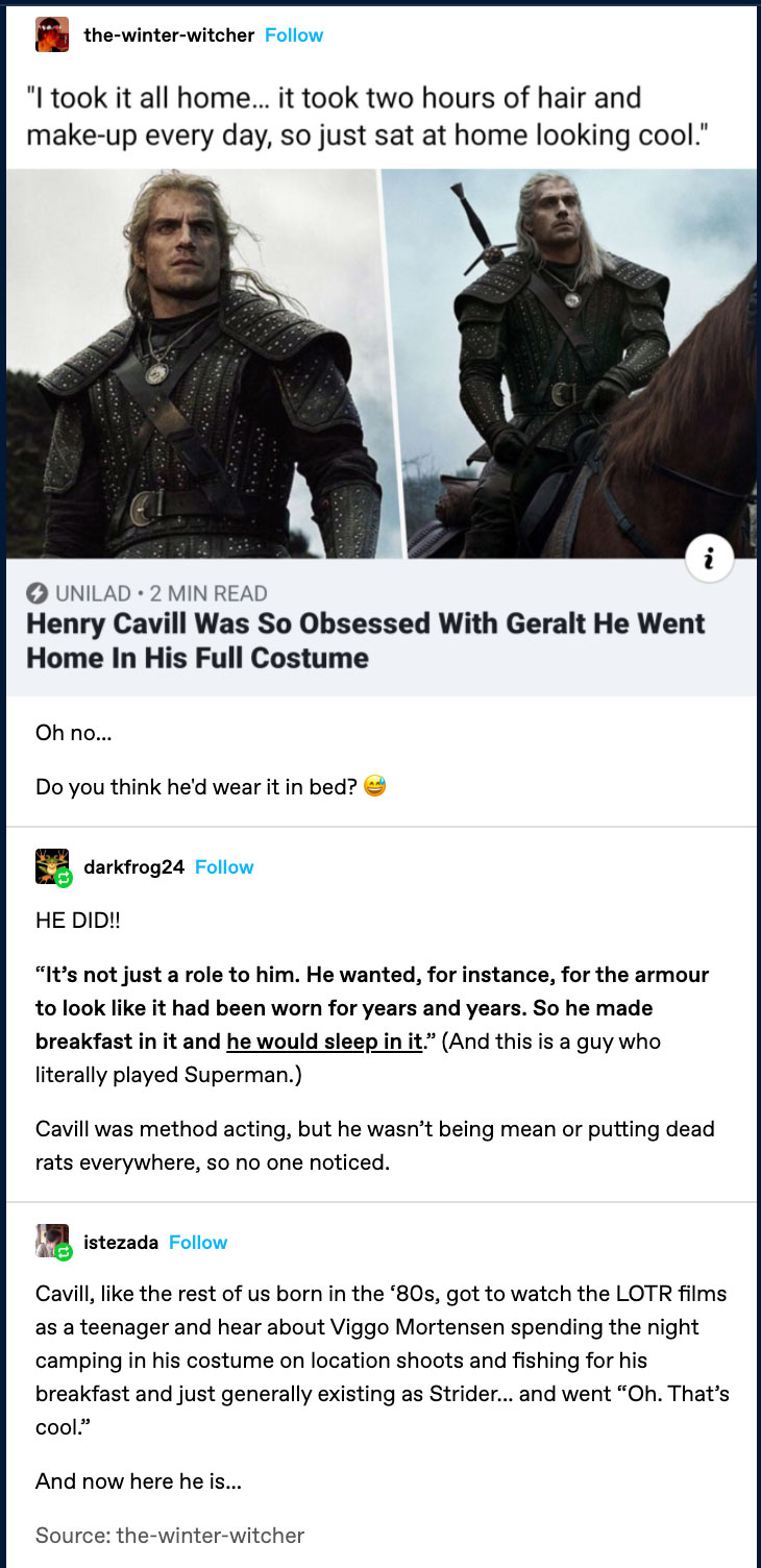 Henry Cavill Wore His Geralt Costume Home