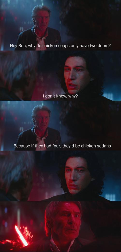 Han Solo Tells Dad Jokes to Kylo Ren