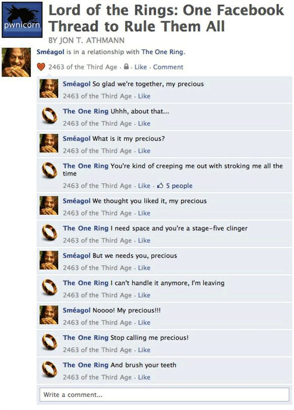 Lord of the Rings: One Facebook Thread to Rule Them All