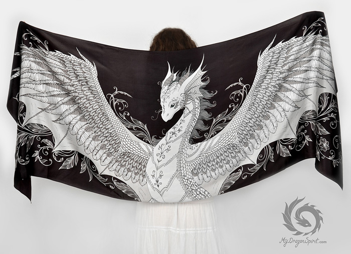 Hand Drawn Silk Dragon Scarves