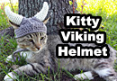 Crocheted Viking Helmet for Cats