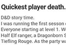 The Quickest Player Death in Dungeons & Dragons