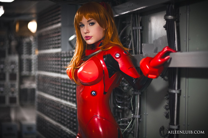 Asuka from Evangelion Latex Cosplay