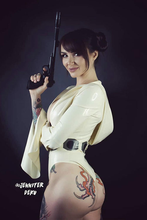 Sexy Princess Leia Latex Cosplay