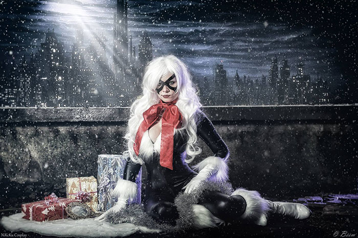 Christmas Black Cat Cosplay