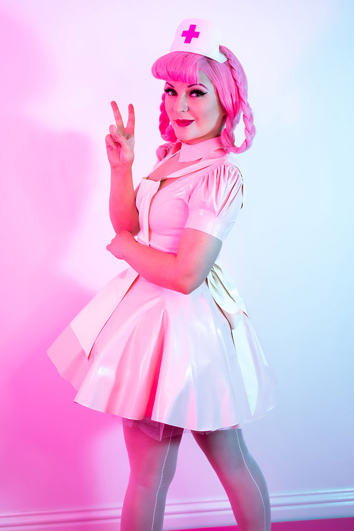 Latex Nurse Joy from Pokemon Cosplay