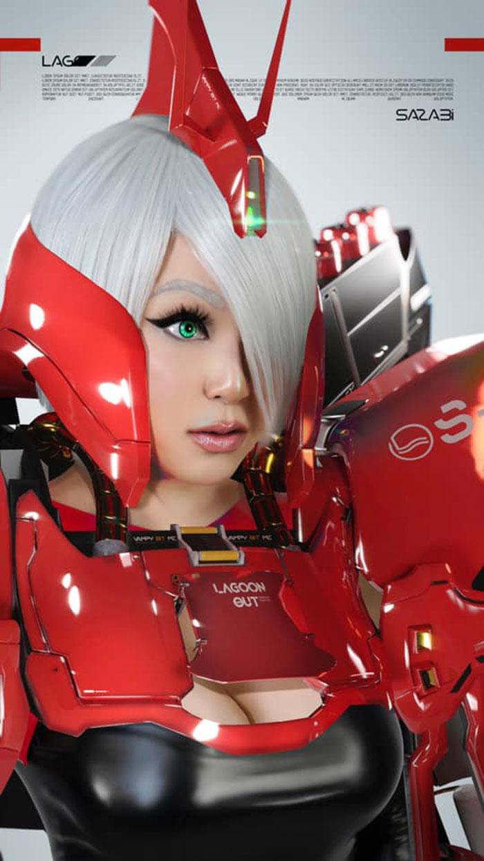 MSN-04 Sazabi Gundam Girl Cosplay