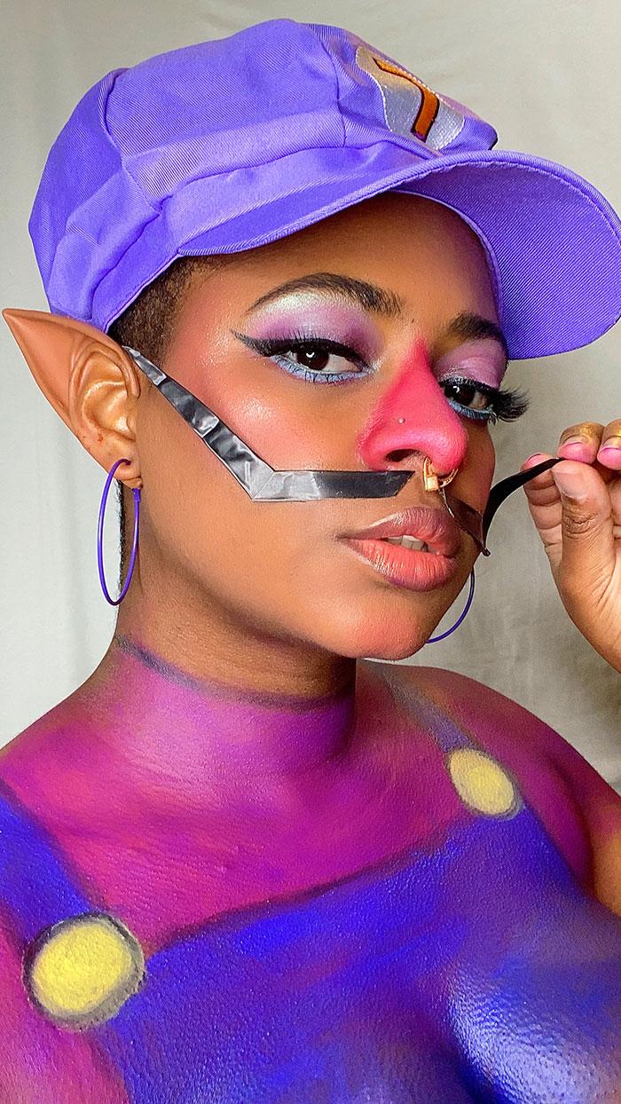 Waluigi Body Paint Cosplay