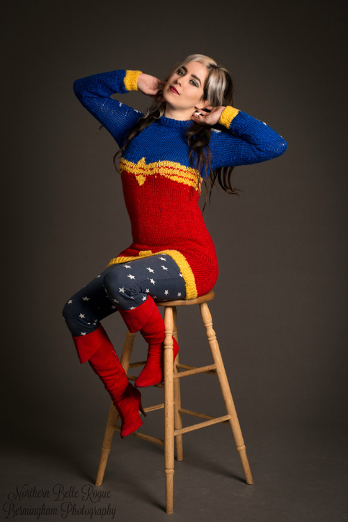 Wonder Woman Sweater Photoshoot