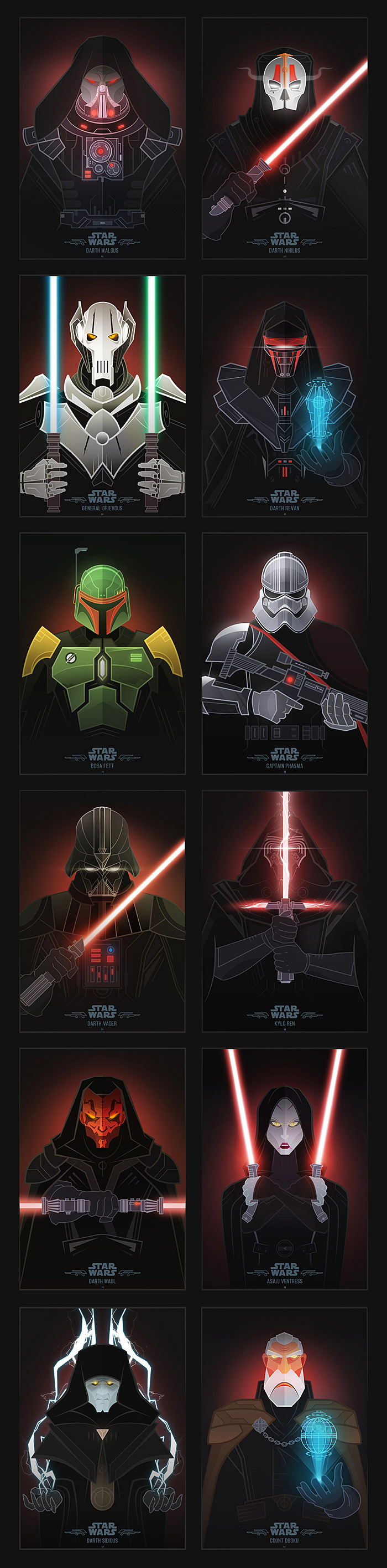 Star Wars Villains Illustrations