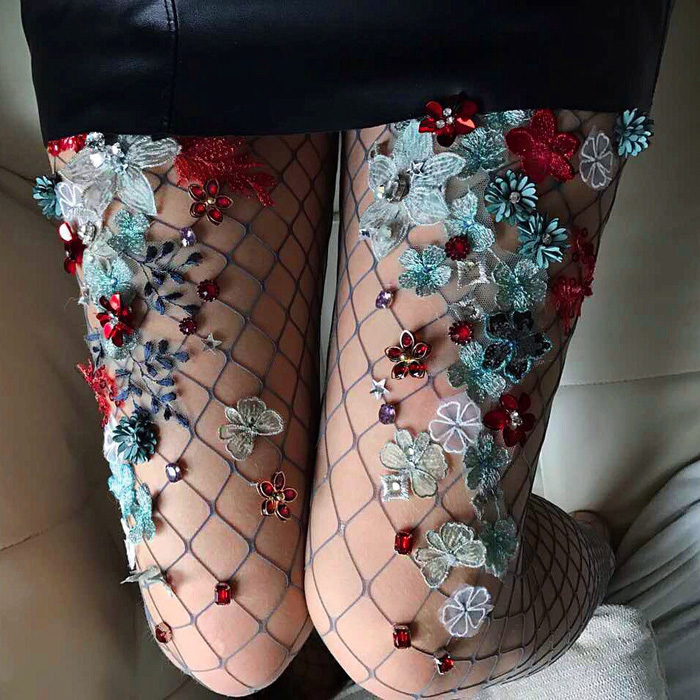 Embroidered Fantasy Fairy Tale Fishnets