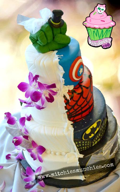 Half Hulk Wedding Cake
