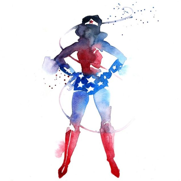 Watercolor superheroes fan art - Super heros fille marvel ...